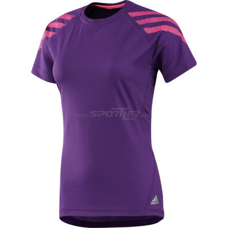 Adidas Iconic Stripe Short Sleeve Tee Power Purple/Ultra Pop kaufen in Online Shop T-Shirts  - Sportler
