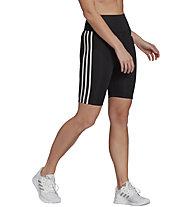 adidas 3-Stripes High-Rise S T - Traininghose kurz - Damen, Black/White
