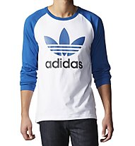 Adidas Originals Trefoil LS T-Shirt Maniche Lunghe, White/Light Blue