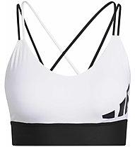 adidas All Me 3 Bar Logo Bra - reggiseno sportivo - donna , White/Black