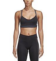 adidas All Me 3-Stripes - reggiseno sportivo a sostegno leggero - donna, Grey