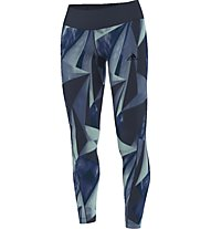 Adidas Allover Graphic Long Tights Pantaloni lunghi fitness donna, Blue