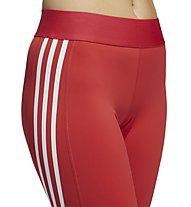 adidas Alphaskin Sport 3 Stripe - pantaloni fitness - donna, Red