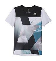 Adidas Adizero Laufshirt Herren, White/Shock Green