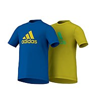 Adidas Ess 2 Pack Tee T-Shirt Bambino, Blue/Yellow