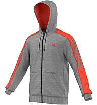 Adidas Essentials Linear 3S Full Zip Kapuzenjacke, Core Heather/Semi Solar Red