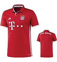 Adidas FC Bayern München Home Jersey Y - maglia calcio bambino, Red/White