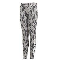 adidas Graphic Linear Tight - pantaloni fitness - bambina, Grey/Black