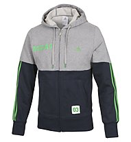 Adidas Hooded Track Top Logo 2 FZ giacca felpa, Grey/Blue/Green