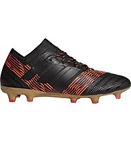 Adidas Nemeziz 17.1 FG - scarpe da calcio terreni compatti, Black/Red/Gold