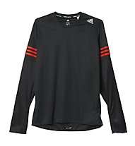 Adidas Response LS Tee maglia a maniche lunghe running, Black/Bold Orange