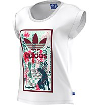 Adidas Originals Rolled Sleeves T-Shirt fitness donna, White