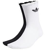 adidas Originals Ruffle Crew - calzini (2 paia), Black/White