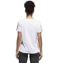 adidas Run 3 Stripes - maglia running - donna, White