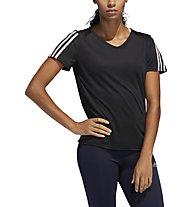 adidas Run 3 Stripes Tee - Laufshirt - Damen, Black