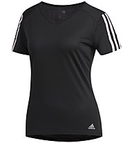 adidas Run 3 Stripes - maglia running - donna, Black