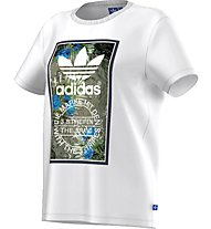 Adidas Originals T-shirt Tongue Label Boyfriend T-Shirt fitness donna, White