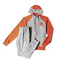 Adidas Tracksuit Hooded Jogger Tuta Uomo, Med.Grey H./Semi Solar Red