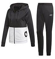 adidas WTS Lin FT Hood - Trainingsanzug - Damen, Black/White