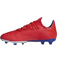 adidas X 18.3 FG - scarpe calcio terreni compatti, Red/Silver/Blue
