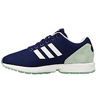 Adidas Originals Low ZX Flux - Adidas Originals Freizeitschuh Damen, Blue/White/Frozen Green