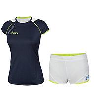Asics Running-Komplet für Damen: Andromeda T-Shirt + Aquila Shorts Lady.