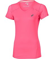 Asics Fuzex V-Neck SS Top T-Shirt fitness donna, Pink