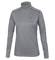 Asics Lite Show LS Neck Top maglia running donna, Dark Grey Heather