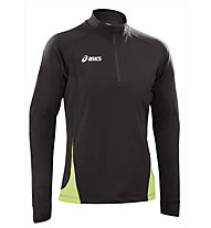 Asics Sweat Javier maglia a maniche lunghe running, Black/Light Green
