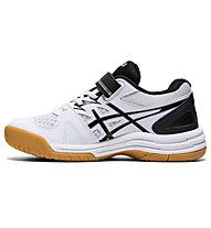 Asics Upcourt 4 PS - scarpe pallavolo bambino, White/Black