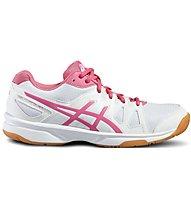 Asics Upcourt GS - Scarpe da ginnastica pallavolo - bambina, White/Pink