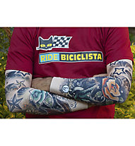Biciclista Flowers Armwärmer, White/Blue