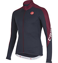 Castelli Classica Thermo Jersey FZ langärmliges Radtrikot, Blue Night/Bordeaux