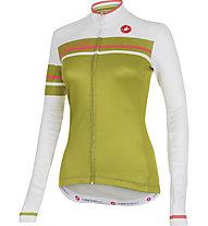 Castelli Girone Jersey FZ langärmliges Vintage Damen-Radtrikot, White/Olive Green
