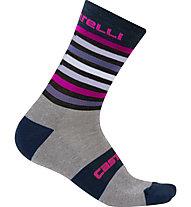 Castelli Gregge 15 - calzini bici, Blue/Grey/Pink