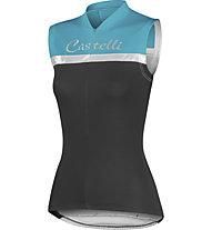 Castelli Promessa W Sleeveless, Black/Aqua/Silver