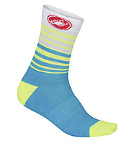 Castelli Righina 13 Sock - calze bici - donna, Light Blue/Yellow