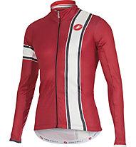 Castelli Storica Jersey FZ langärmliges Vintage-Radtrikot, Ruby Red/Cream
