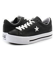 Converse One Star Ox Platform Leather - Sneaker - Damen, Black/White
