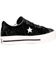 Converse One Star Ox Platform Shiny Vel - sneakers - donna, Black/White