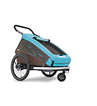 Croozer Kid Plus for 2 Click&Crooze - rimorchio per bicicletta, Blue/Brown