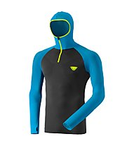 Dynafit FT Dryarn Warm - Langarmshirt mit Kapuze - Herren, Dark Grey/Light Blue/Fluo