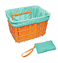 Electra Basket Liner, Orange/Light Blue Polka Dots