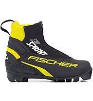 Fischer XJ Sprint - scarpa sci di fondo - bambino, Black/Yellow/White