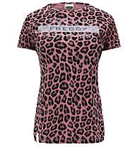 Freddy Jersey Light - t-shirt fitness - donna, Rose/Black