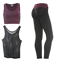 Freddy Fitness-Komplet: Pant + Shirt + Top, Black/Dark Red