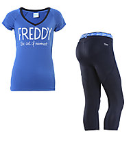 Freddy Pantaloni 3/4 + T-shirt ginnastica donna, Dark Blue/Navy