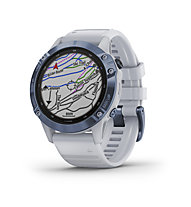 Garmin Fenix 6 Pro Solar - Sportuhr mit Solartechnologie, White/Blue Cobalt