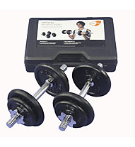 Get Fit 20 kg Gewichte Set + Plastik Box, Chrome/Black