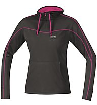 GORE RUNNING WEAR Essential Lady Hoody Felpa con cappuccio running donna, Black/Violet